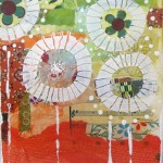 Umbrella Flowers | Collage & Gesso